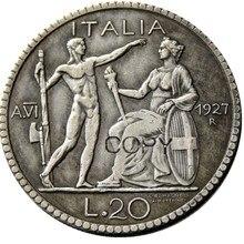 Италия 20 Lire 1927-1928 R посеребренные копии монет