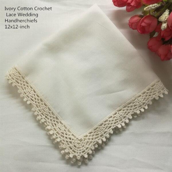 Set Of 12 Fashion Wedding Bridal Handkerchiefs Ivory Cotton Ladies Hankies Vintage Crochet Lace Hanky Pocket Hankie 12x12-inch