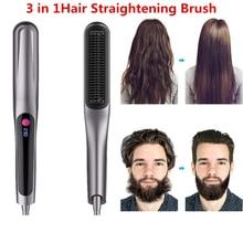 Hair Straightening Irons Beard Multifunctional Men Beard Straightener Styling Multifunctional Hair Comb Brush Ceramic Hot Comb