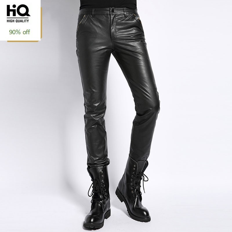Motorcycle Mens Genuine Leather Pants Korean New Fashion Straight Skinny Trousers Casual Classic Streetwear Male Plus Size 4XL
