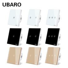 UBARO EU/royaume-uni cristal verre panneau lumineux mur tactile interrupteur Led interrupteur électrique bouton de commutation avec Led rétro-éclairage AC100-240V