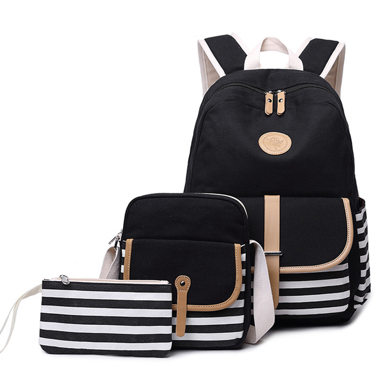 3 PCS Sets School Bags For Teenager Girls Canvas Backpacks Striped Print Backpack Shoulder Bag For Women 2019 Bolsas Phone Bag in Backpacks from Luggage Bags