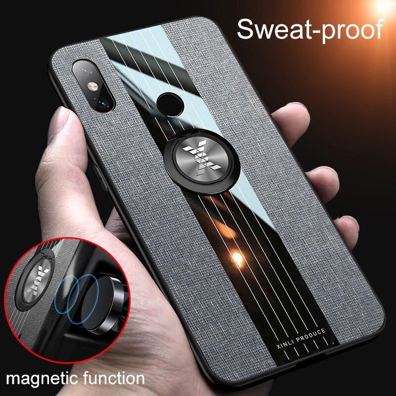Pour Xiao mi mi Max 3 housse en tissu de luxe boîtier rigide antichoc Noble pour Xiao mi mi Max 2 coque de téléphone avec anneau de support en métal