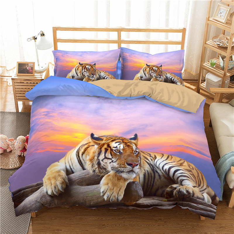 Animal Style Bedding Set 3D Printed Tiger Pattern Soft Duvet Cover Pillowcase Bedroom Single Double Queen King Home Textiles