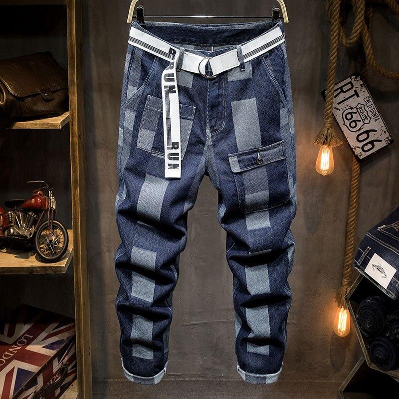Pantalon Homme Jean 2020 Plaid Jeans Men's Fashion Brand Loose Straight Pants Personalized Daddy Men's Pants Jeans Hombre