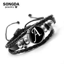 Bead Bracelet Gift Braided Leather Black 26-Letter Women Glass-Snap Metal A-Z SONGDA