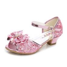 Girls Sandals Rhinestone Butterfly Latin Dance Kids Shoes Children High Heel Princess Shoes Glitter Leather Party Dress Wedding