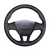 Hand stitched Black Genuine Leather Anti slip Soft Car Steering Wheel Cover for Ford Focus 3 2015 2018 Fits Without Multi Fun