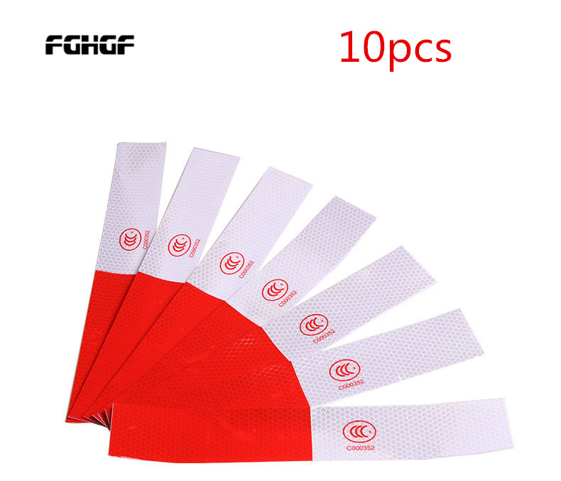 10PCS High Intensity Outdoor Security Popular DIY Red-White Truck Safety Warning Night Reflective Strip Tape Stickers Hot