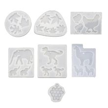 DIY Cute Animals Pendant Mold Dinosaur Alpaca Elephant Chicken Grape Leaves Resin Mould Epoxy Resin Jewerly Making Tools