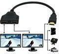 1 шт. HD-MI совместимость 2 Dual Порты и разъёмы Y сплиттер HD 1080P V1.4 штекерным двойной переходник с внутренней резьбой кабель 1 в 2 из HDMI конвертер Ка...
