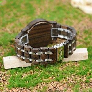 Image 5 - ボボ鳥P19 木製メンズクォーツ日付表示ビジネスマン腕時計黒檀ゼブラウッドオプションバレンタインクリスマスギフト