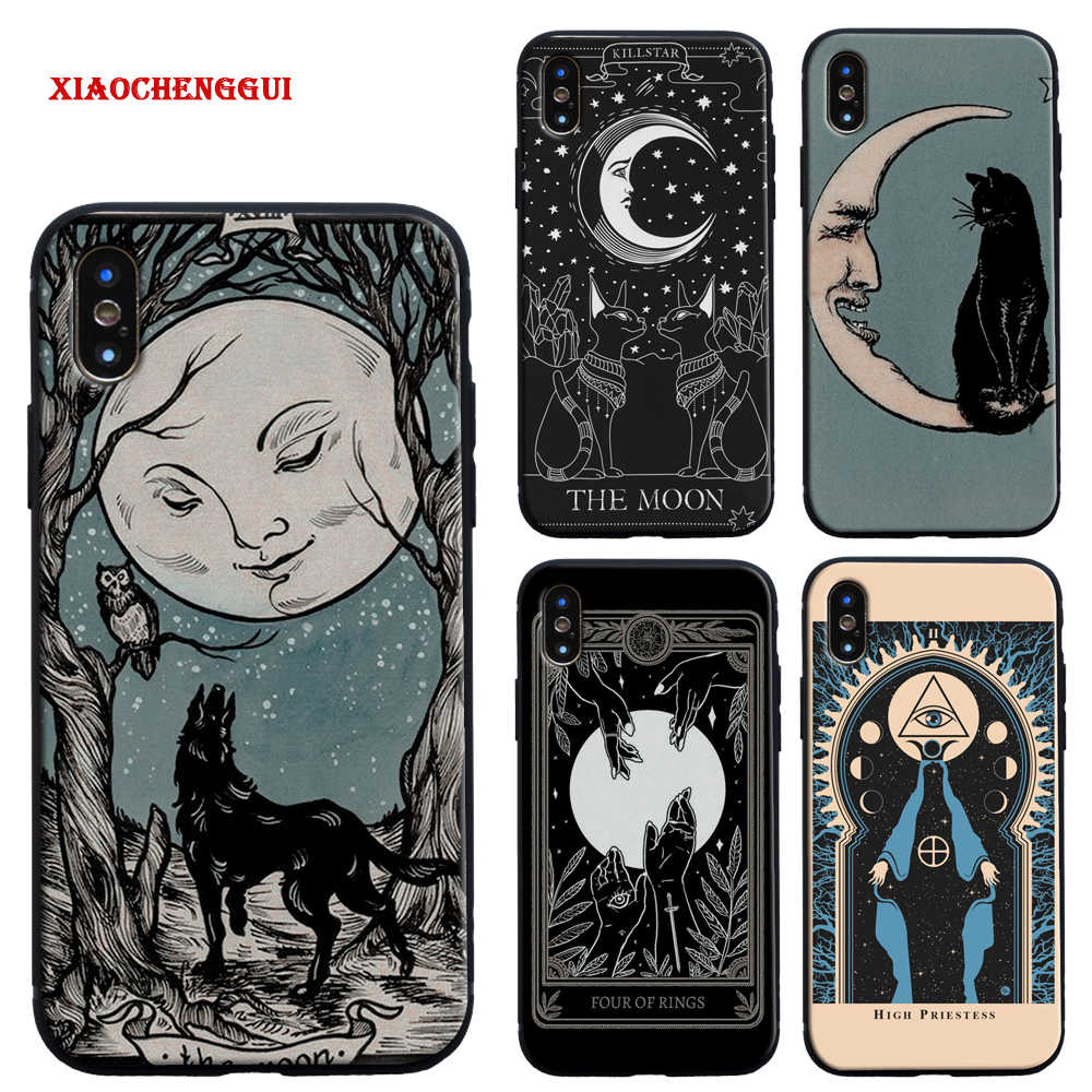 Heksen Maan Tarot Mystery Totem Zachte Siliconen Telefoon Case Cover Shell Voor Iphone 6 6 S 7 8 Plus X xr Xs 11 Pro Max 5 S 5 Se Case