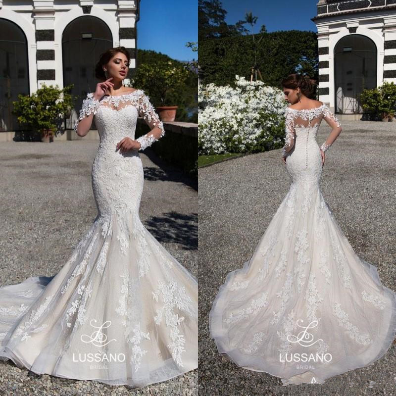 Mermaid Lace Applique Wedding Dresses With Long Sleeve 2020 Scoop