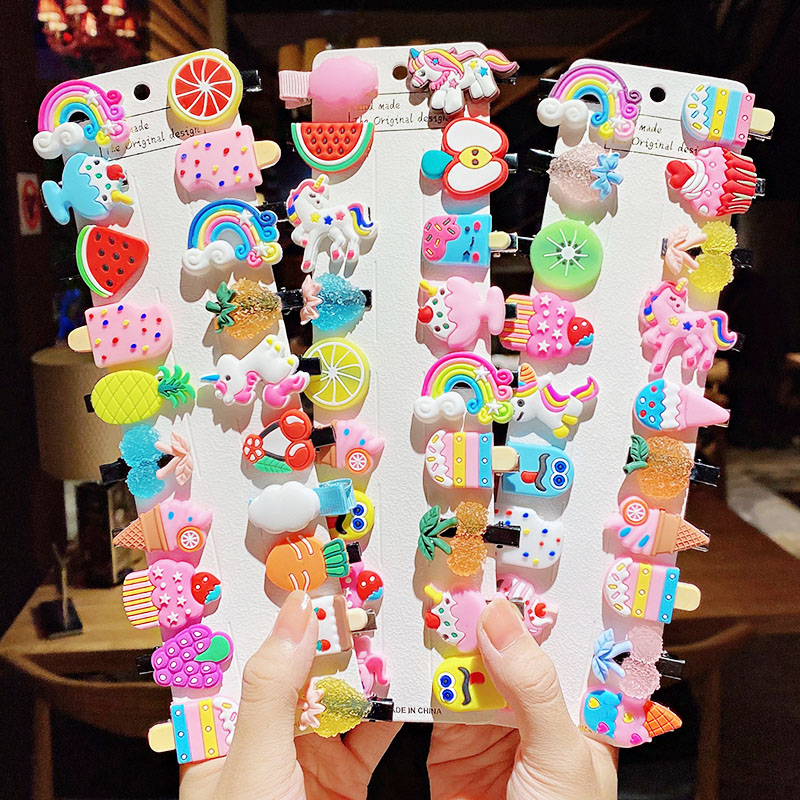 10PCS/Set New Girls Cute Cartoon Ice Cream Unicorn Hair Clips Kids Lovely Hairpins Headband Barrettes Fashion Hair Accessories