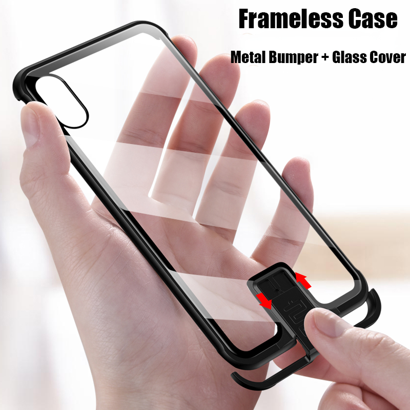 Slim Frameless Metal Phone Case For iphone XS Max Case Tempered Glass Cover for iphone XR XS X 7 8 Plus Metal Bumper Case image