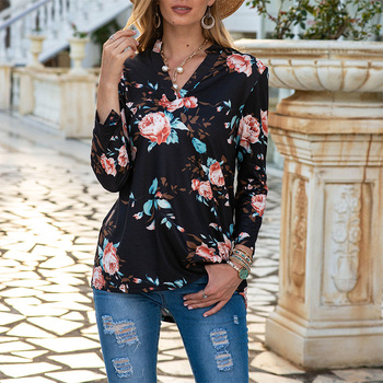 Women Floral Printed Blouse Shirt 2020 Autumn Female Clothes V Neck Long Sleeves Tops Ladies Office Casual Streetwear Blusas attractive floral printed v neck long sleeve blouse for women