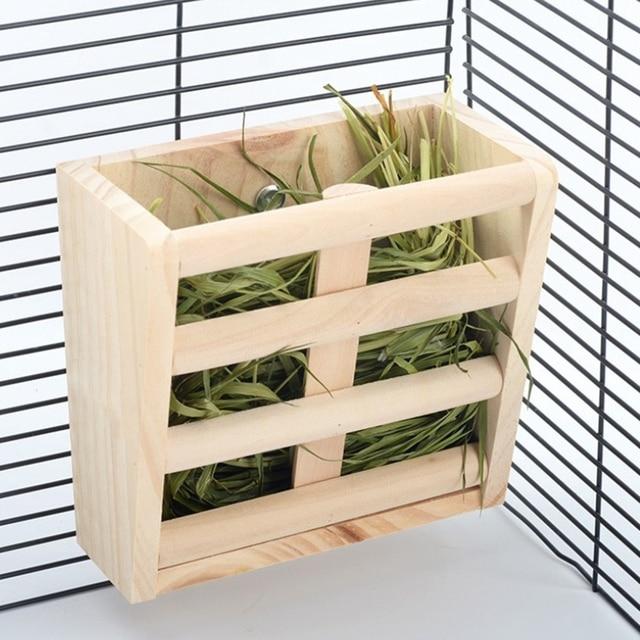 Small Animals Cage Accessories- Rabbit Hay Feeder Rack,Natural Wooden Hay Manger, Hamster Gerbil Rat Lookout Platform Sport Play 3