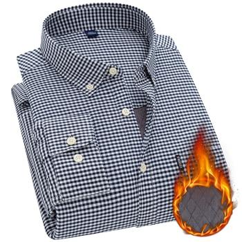 Aoliwen brand men long sleeved cashmere casual business shirt plus velvet thick 100% cotton Oxford lining plaid