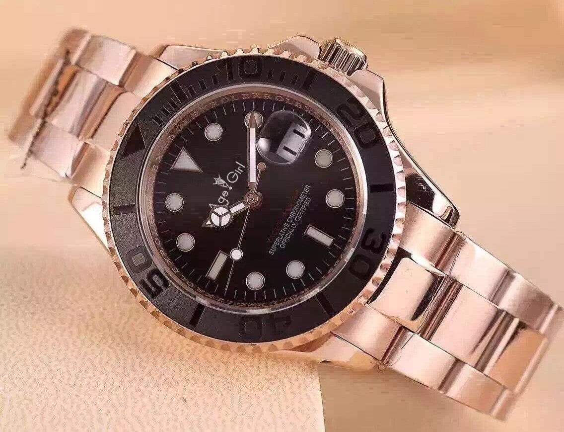 Luxury Brand New Rose Gold Silver Ceramic Bezel Men Watch Sapphire Automatic Mechanical Black Rubber Steel Bracelet Watches AAA+