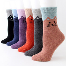 Calcetines mujer new Harajuku winter thick soft wool socks warm rabbit tube adult cat
