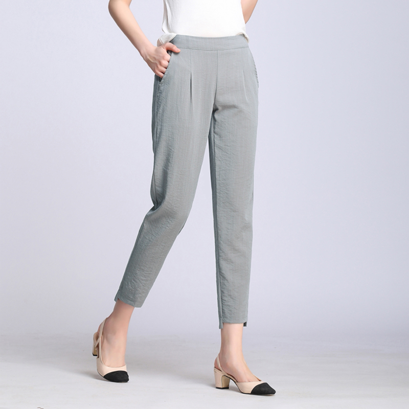New Women Casual Harajuku Spring Summer Plus Size Trousers Solid Elastic Waist Cotton Linen Pants Ankle Length Harem Pants