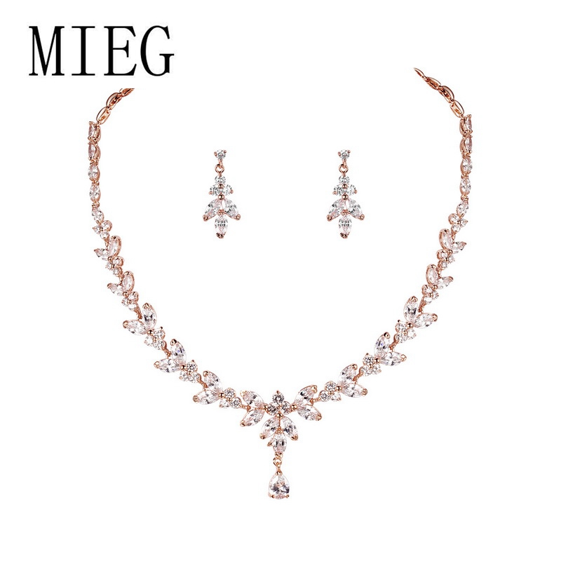 MIEG Brand Cubic Zirconia Wedding Bridal Necklace and Earring Jewelry Set in White Gold / Rose Gold / Yellow Gold Colors