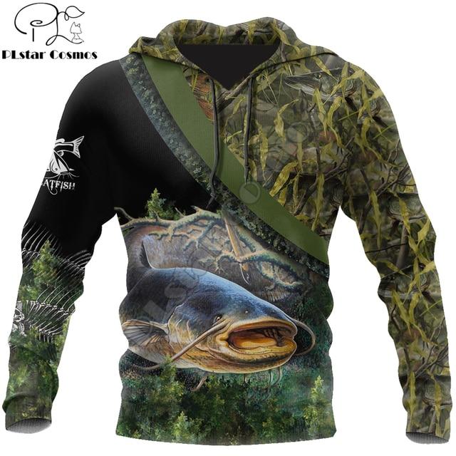 Catfish camo fishing hoodie unisex
