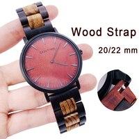 20 22mm drewniany zegarek pasek dla zegarek huawei GT / Galaxy 42/46mm ze stali nierdzewnej stalowa klamra pasek bransoletka zamienna dla biegów S3 S2