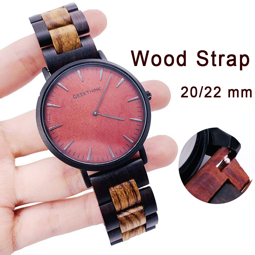 20 22mm Wood Watch Band For Huawei Watch GT / Galaxy 42/46mm Stainless Steel Buckle Strap Replacement Bracelet For Gear S3 S2