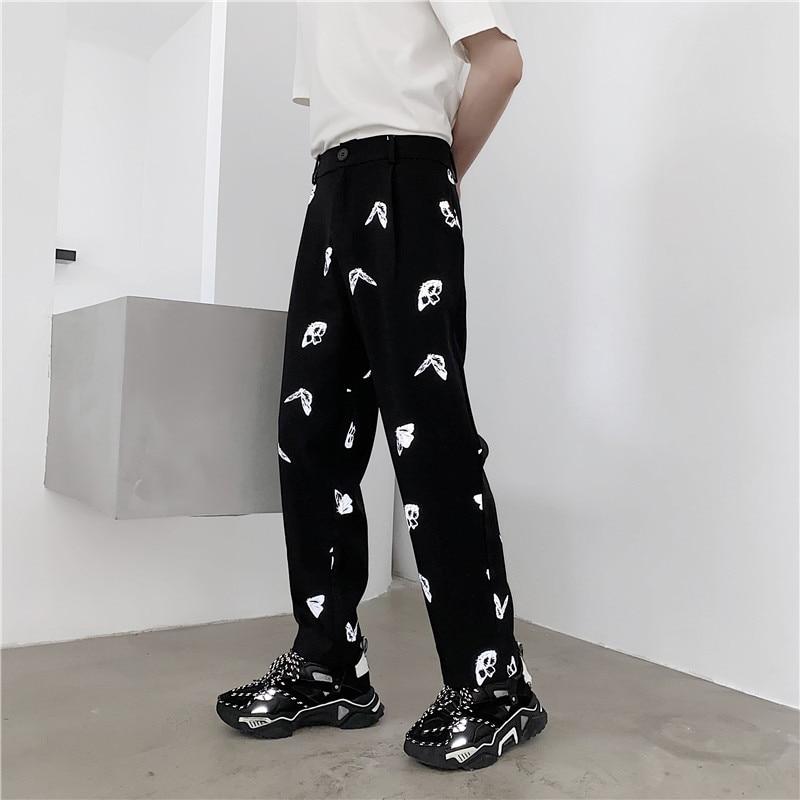Men Butterfly Reflective Casual Pants Male Streetwear Hip Hop Straight Suit Pants