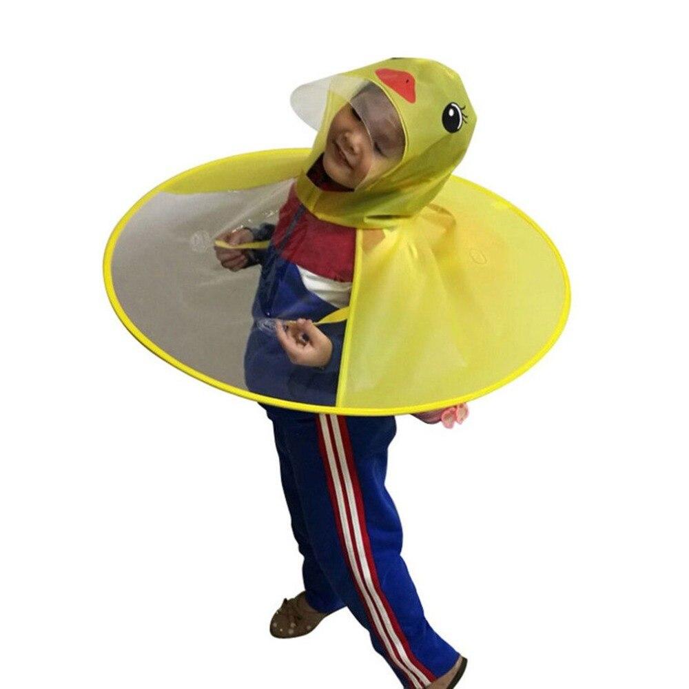 2019 New Creative Cartoon Duck Rain Hat Foldable Children Raincoat Umbrella Cape Cute Rain Coat Cloak Universal for Boys Girls