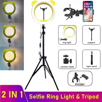 Universal 10 Bear Dimmable LED Ring Fill Light Photography 26CM Selfie Led Ring Lamp With Tripod For Makeup Video Live YouTube led selfie ring light tripod 26cm photo studio photography photo fill ring lamp with tripod stand for youtube live video makeup