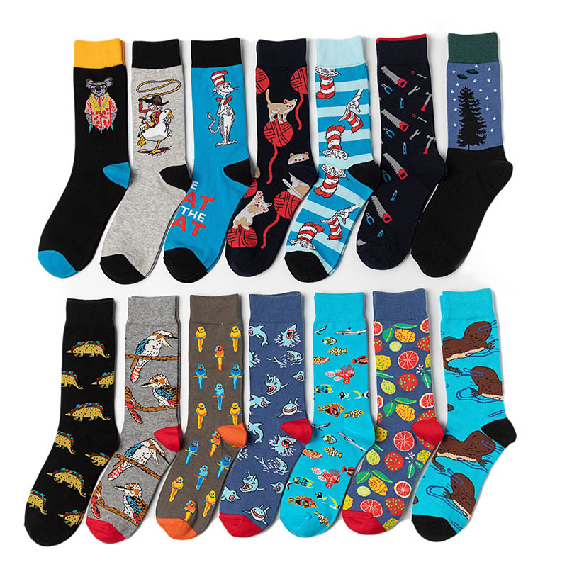 Fashion Hip Hop Trend Funny Men Socks Personality Cartoon Anime Skateboard Socks Breathable Antiskid High Quality Happy Socks