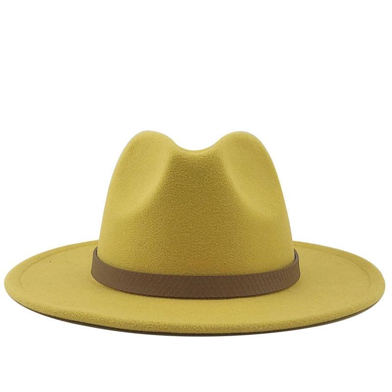Wide Brim Autumn Trilby Caps Female Male Fashion Top Hat Jazz Cap Winter Panama Hat Vintage Fedoras Men Mafia Hat Felt 56-60CM