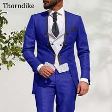 Party-Suit Tuxedos Groom Custom Wedding Elegant 3pieces-Set Thorndike for Men Solid Slim-Fit