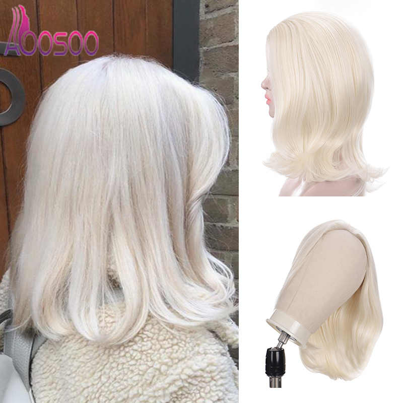 AOOSOO short lace front wig with free bang  613 color ladies wig 16 inches  For women heat resistance wig