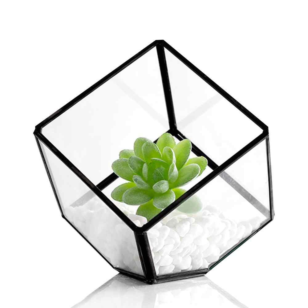 Terrário de vidro moderno caixa de armazenamento de vidro transparente terrário geométrico planta suculenta expositor box (preto) (sem plantas)