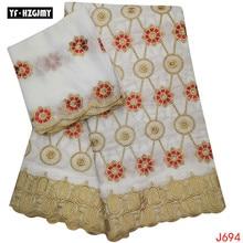 YF HZGJMY African bazin riche getzner High Quality Nigerian Beige&Royalblue Fabric 5+2 yards French embroidery fabric Lace HA694 hfx gold bazin riche getzner 2019 top quality nigerian lace fabric 100