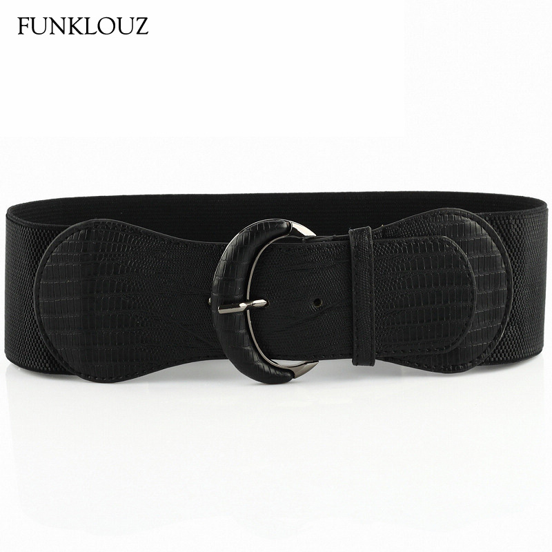 Funklouz Fashion Synthetic Leather Women Elastic Belt Wide Belt Good Matching Dress Pin Buckle Girdle Waistband