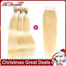 Ali Annabelle, 613 блонд, человеческие волосы, прямые бразильские волосы, волнистые пряди, с закрытием, волосы remy, 3 пряди
