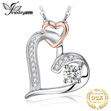 JewelryPalace 925 Sterling Silver Pendants Necklace Infinity Double Heart Cubic Zirconia Rose Gold Fashion Pendant Without Chain jewelrypalace authentic 925 sterling silver pendants necklace crown wings honey bee pendant without chain cubic zirconia jewelry