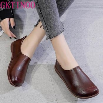 GKTINOO 2020 Autumn Fashion Women Shoes Genuine Leather Loafers Casual Soft Bottom Comfortable Flats