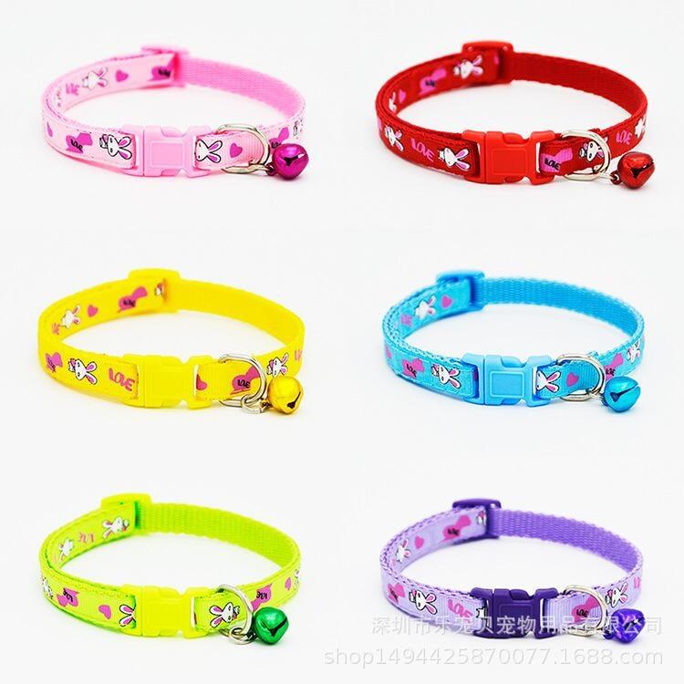 Wave Colorful Cartoon-Style Applique Pet Bell Neck Ring Bandana Snap-Cat Dog Collar