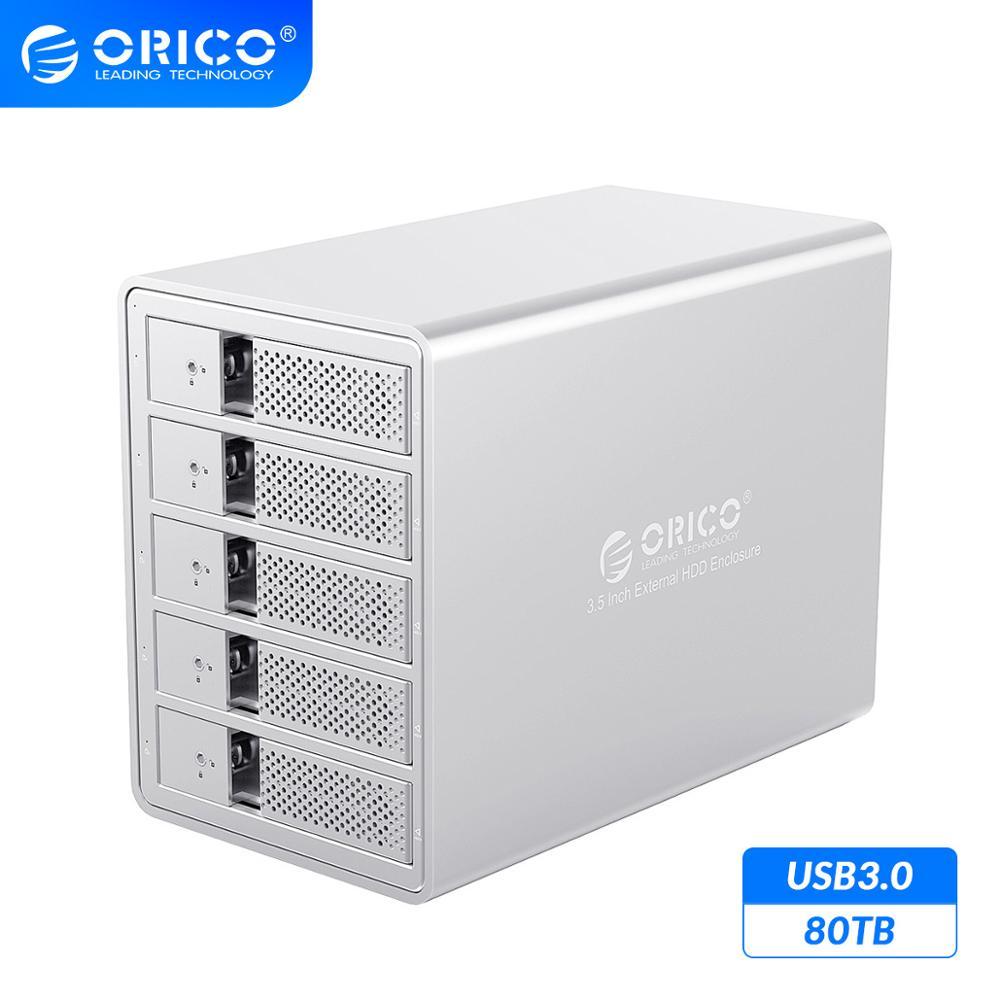 ORICO 95 Series 5 Bay 3.5 SATA na USB3.0 stacja dokująca HDD wsparcie 80TB UASP dodaj 150W wewnętrzna moc aluminiowa obudowa SSD HDDhard drive enclosure5 baydrive enclosure -