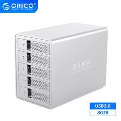 ORICO 95 serie 5 Bay 3,5 ''SATA a USB3.0 HDD soporte de estación de acoplamiento 80TB UASP agregar 150W Cubierta para SSD y HDD de aluminio de potencia interna