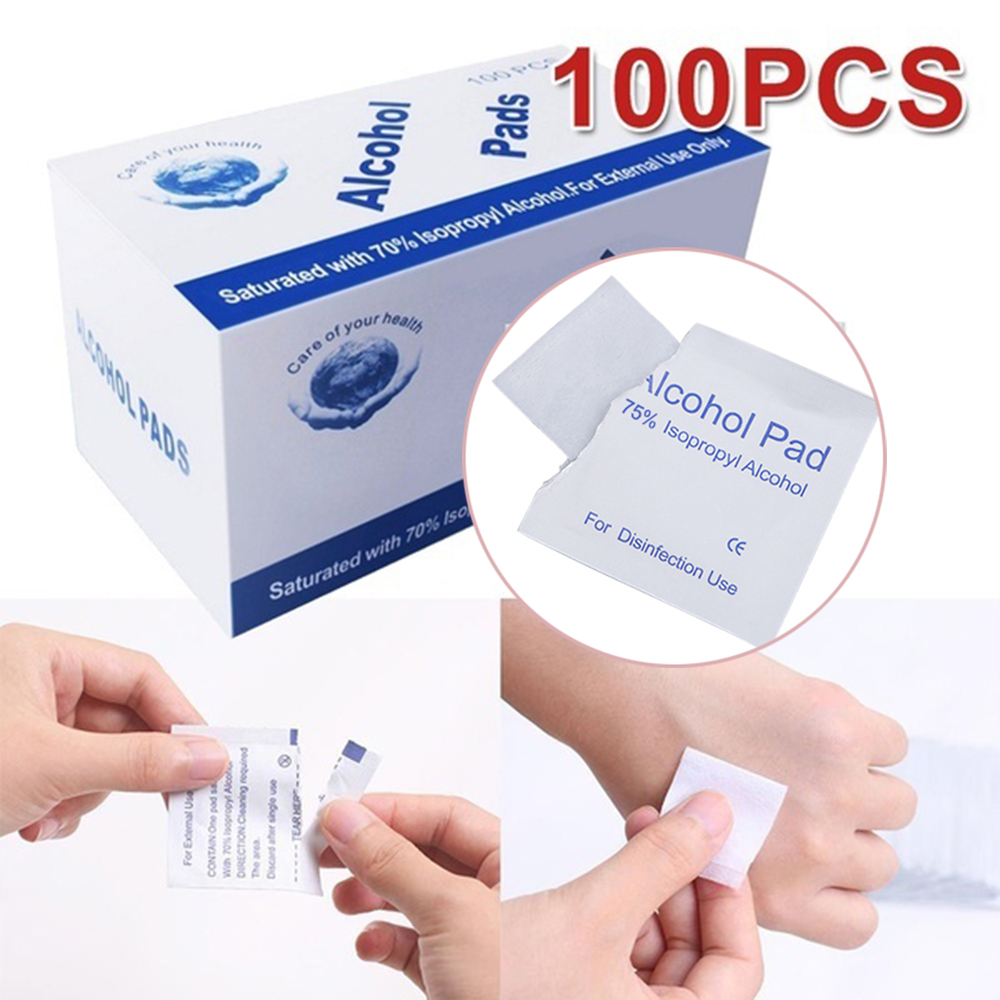 50/100 Pcs Alcohol Wet Wipe Disposable Disinfection Prep Swap Pad Antiseptic Skin Cleansing Care Wipe Portable Healthy Care