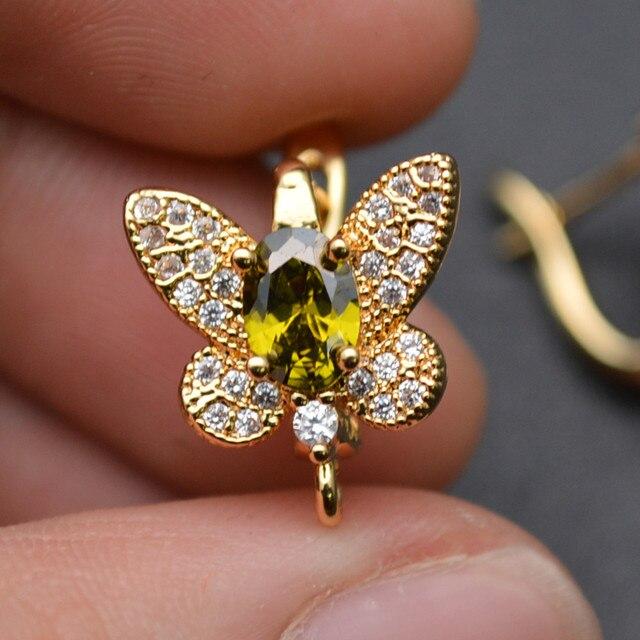 ออกแบบใหม่CZขนาดใหญ่ผีเสื้อรูปร่างโลหะตะขอต่างหูทองเหลืองเครื่องประดับGoldสี/โรเดียมสีเงิน