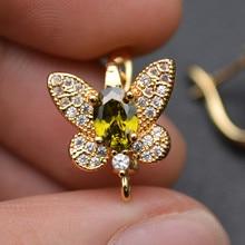 Yeni tasarım CZ kaplamalı büyük boy kelebek şekli Metal kanca küpeler pirinç takı bulguları altın rengi/rodyum gümüş renk