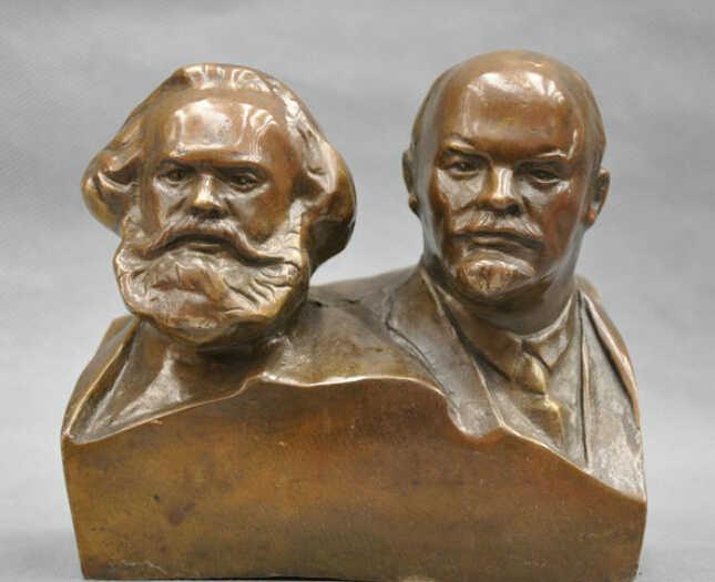 6 ''grande Comunista Marx E Lenin Busto Statua di Bronzo R0712 B0403